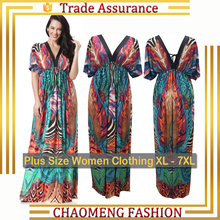 6030# Fashionable Sundress Designs Fat Ladies Dresses Casual Summer Floral Printed Maternity Long Bohemian Maxi Dress Plus Size