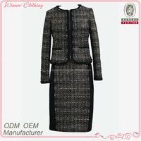 high fashion long sleeve tweed elegant office suits for women