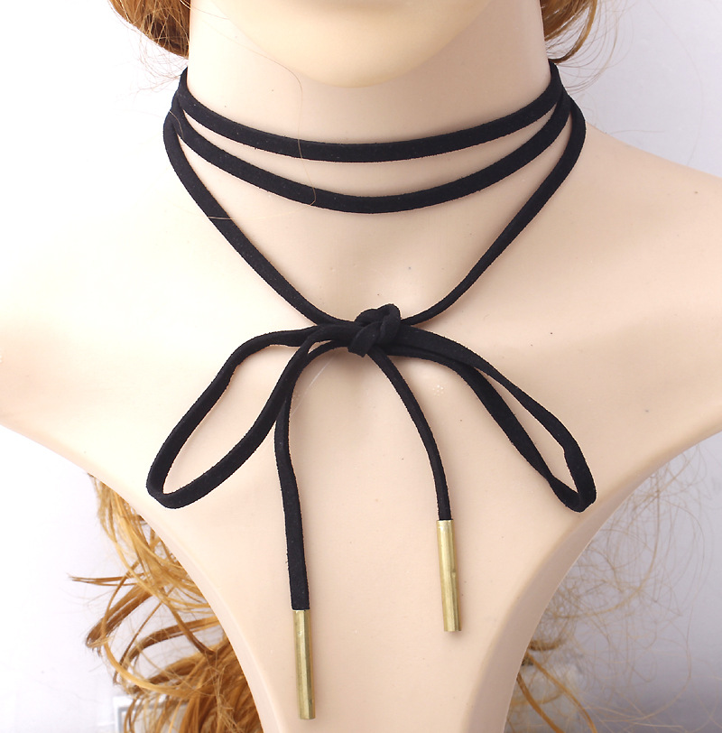 Trendy Black Multilayers Rope Leather Choker Necklaces Knotted Tie Bow Necklace Accessory For Women