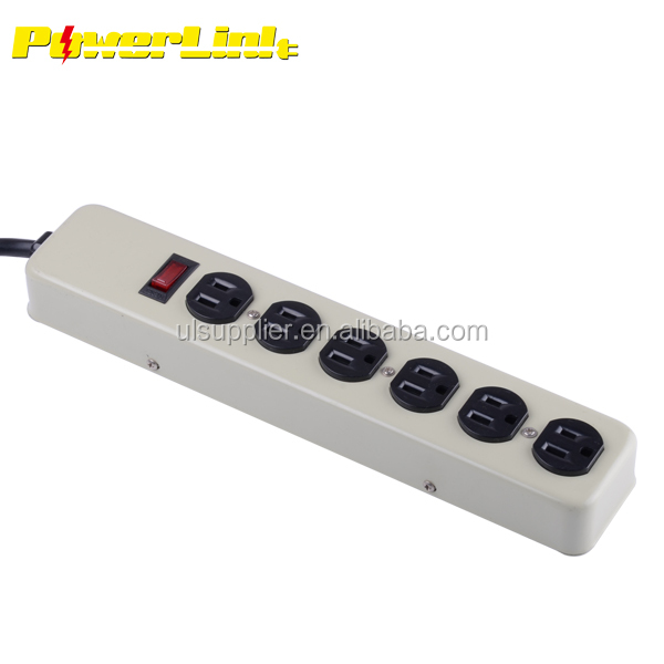 S80046 UL Heavy Duty 6-outlet Metal power strip with 15A Circuit Breaker Power Surge Protector
