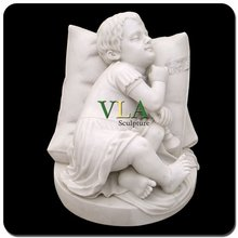 White Lovely Stone Children Statue VCS-022