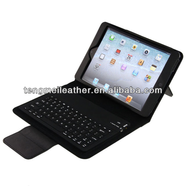 PU Leather with Built-in Bluetooth Wireless Keyboard case for iPad Mini,Leather case for ipad mini