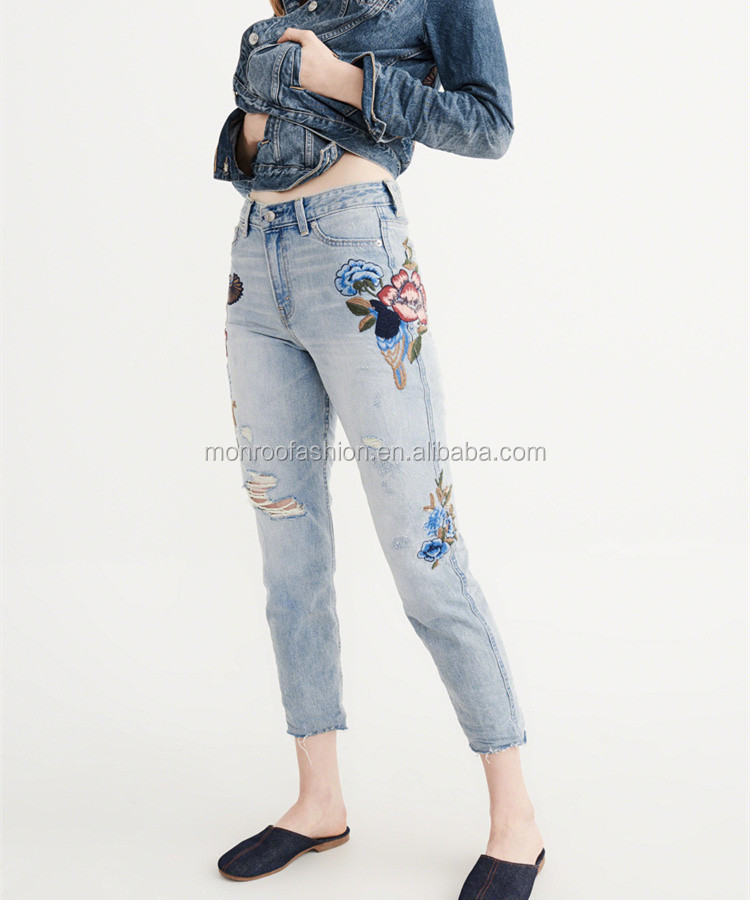 Monroo Fashion lady floral embroidery jeans light blue skinny pants