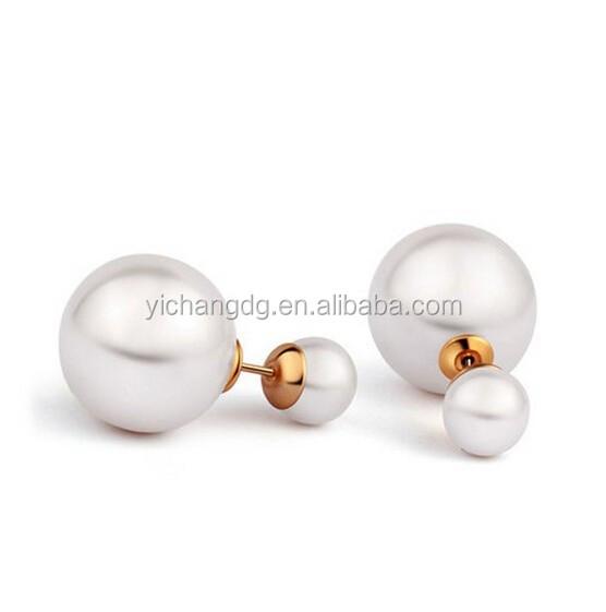 Double Pearl Bead Earrings For Women, Double White Simulated Pearl Bead Plug Stud Earrings