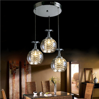 Indoor decoration LED modern hand blown glass chandelier with crystal drops