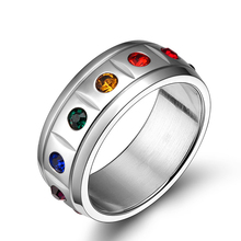 SJPR-004 Ally Express Cheap Wholesale Ring 316 Stainless Steel Colorful Rhinestone Unisex Rainbow Eternity Ring