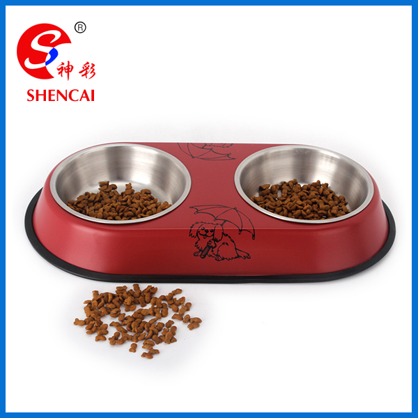 silent double diner bowl for dogs and cats set of 2 bowls with stand pet bowl pet feeder