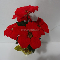 high quality Christmas poinsettia artificial flower life like handmade fabric poinsettia red poinsettia flowers pots