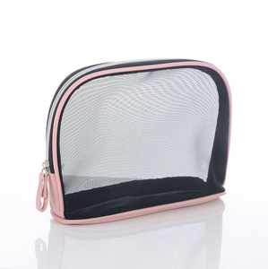Promotional custom zipper portable luxury fashion clear pvc mesh women clear cosmetic bag