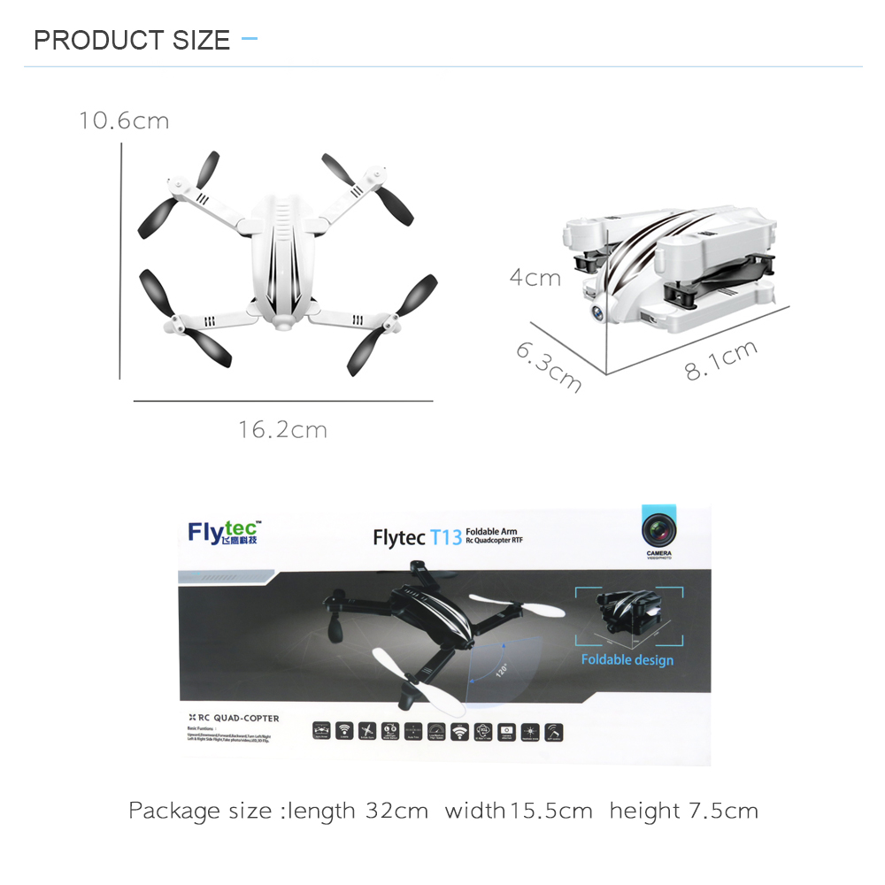 Flytec T13S Foldable Drone With 720P HD Camera WIFI FPV Racing Mini Drone On Sales