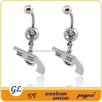 Hot sale stainless steel with crystal cute gun navel ring body piercing jewelry
