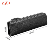 Guangzhou Black Genuine leather pencil holder leather pen case pencil holder