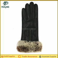 Ladies black fashion velvet gloves with fur cuff