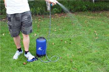 collapsible Foot pump regulated non-gravity camping pressure shower