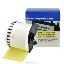 Brother Continuous 2.4 in x 100 ft Black on Yellow Label Tape DK 2205 DK 22205 Compatible for Brother ql 700 address labels