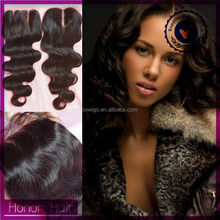 100% virgin human raw unprocessed wholesale indian hair silk base closures