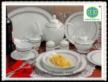 49pcs hotel tableware porcelain with platinum decal