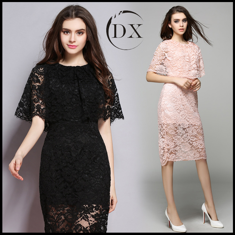 Women's dress 2017 vintage style sexy temperament breathability pink lace Cloak sleeve dress