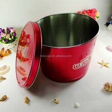 tin metal popcorn bucket with lid