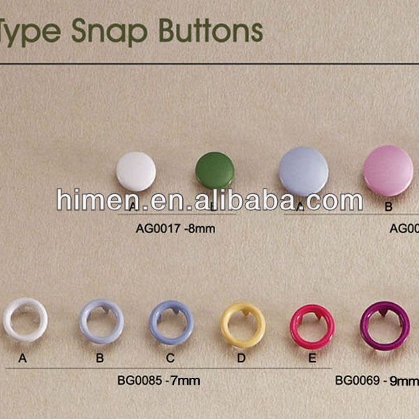 colorful cap / ring prong snap button metal four part button WZ-09