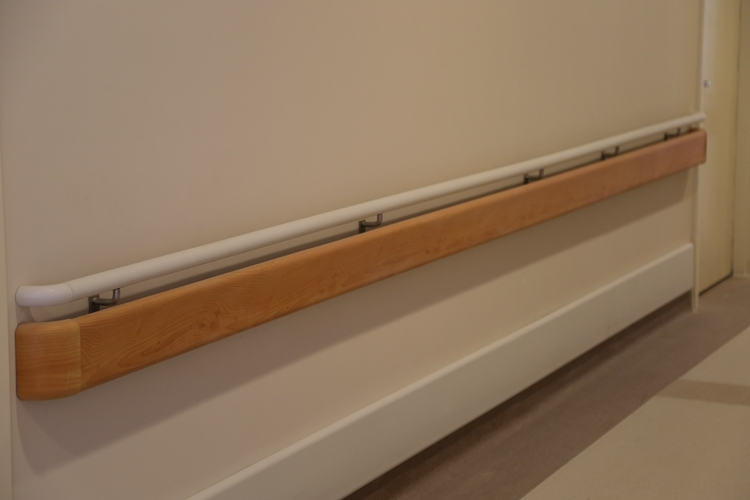 Wall mounted PVC grab bar/ round hospital handrail/ corridor handrail