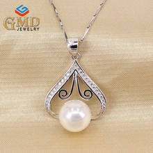 Fashion design freshwater pearl pendant, 925 silver bullet pendant necklace