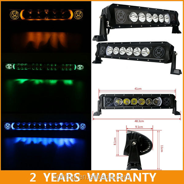 90w 20inch halo led light bar with skull red/blue/green/amber halo ring for offroad car accessories