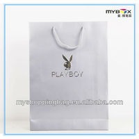 Play boy simple white art paper shopping bag with hands