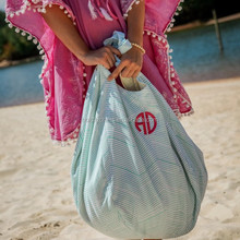 wholesale Oversized Seersucker Beach Hold Everything Monogram Hobo Bag