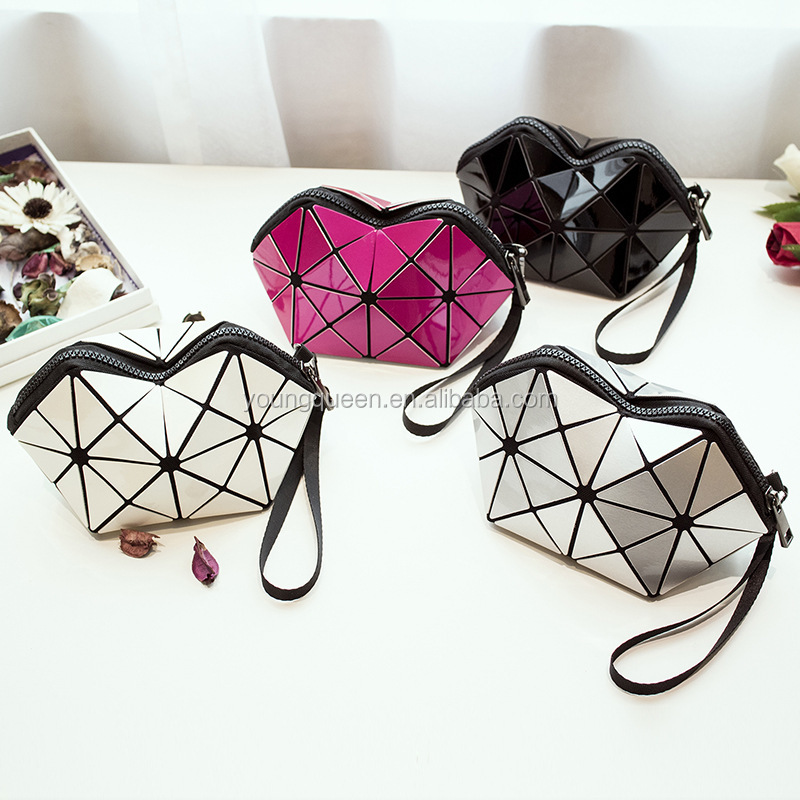 ZW110 The new geometric Lingge package hand bag geometric solid bag lattice women pu bag
