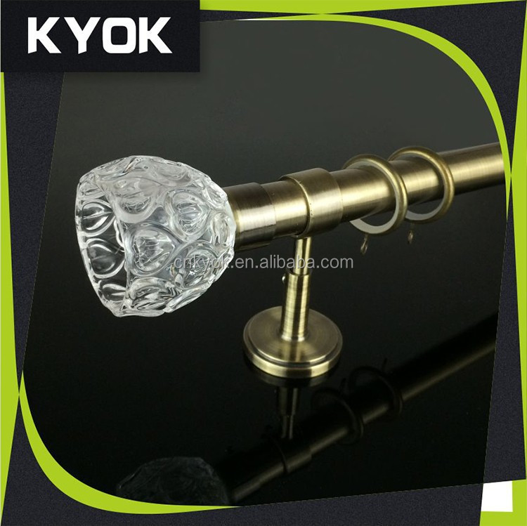 Beautiful and cheap price curtain rod,China supplier high quality hollow metal iron curtain finials,Clear crystal curtain finial