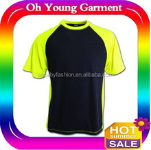 Two tone t shirt/fashion cheap 100% poly fabric very soft t shirts