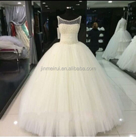 Ivory Princess Wedding Dresses Pearls Scoop China Wedding Dress Robe de mariage