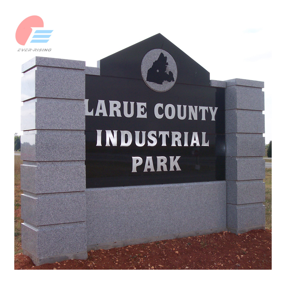 outdoor Grey and black granite signs