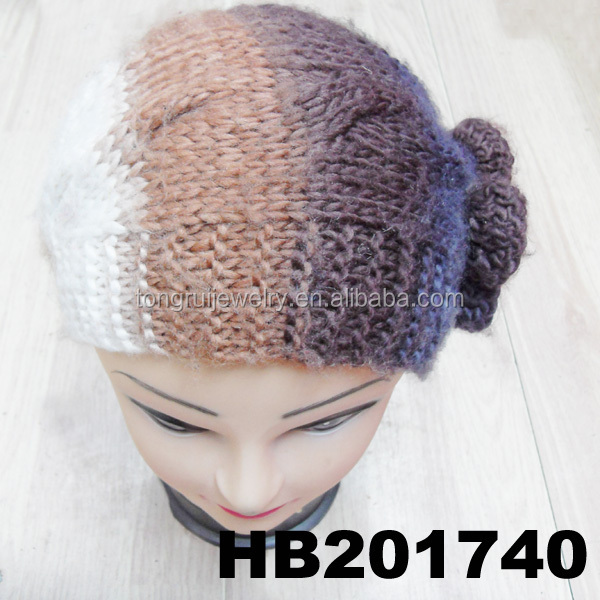 Fashion Crystal Flower Free Knitted Headband With Button Closure Patterns - B...