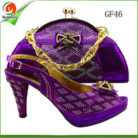 2016 leather italian party design fashion matching shoes and hand bag set ladies dark purple handbag match sandal