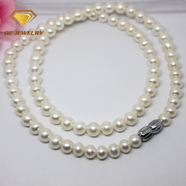 Cheap price white round big size freshwater pearl necklace for girl