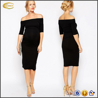 Ecoach wholesale maternity women's fashion knit Off-shoulder korean style maternity dress maternity clothes manufacturers