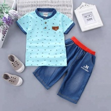 Hot Sale Summer Stylish Casual Baby Boy Clothes Fancy Tops And Pants Baby Clothing Sets