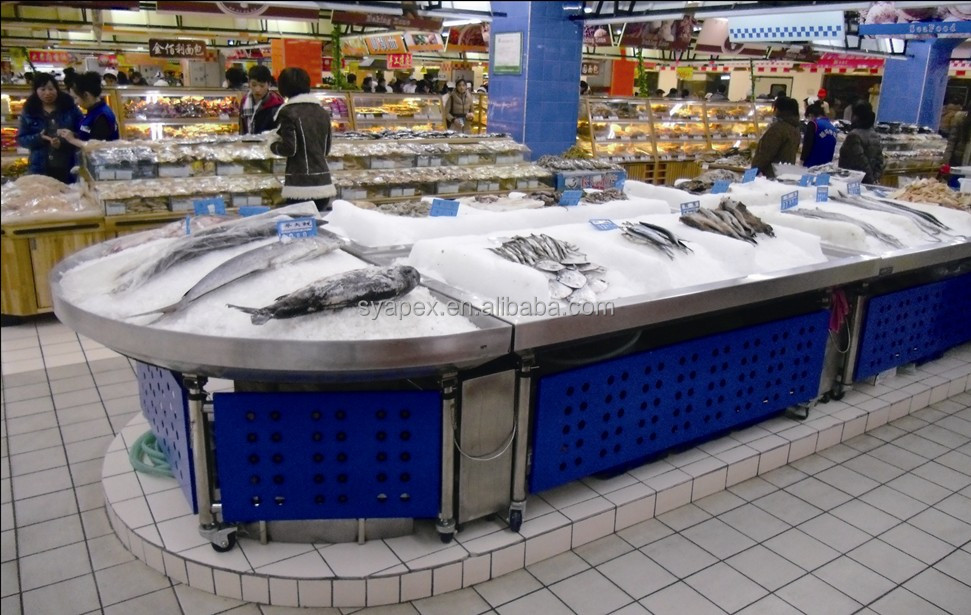 APEX custom make commercial supermarket restaurant stainless steel fresh frozen lobster display table