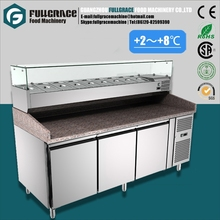 commercial 304 stainless steel pizza workbench refrigerator with 3doors and salad counter