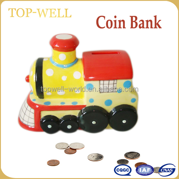 Hot sale train shape coin bank, made in China ceramic money box