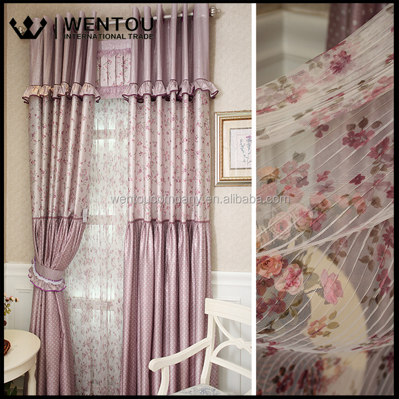 Wentou Hot Selling Korean Style Small Floral Fabric Curtain
