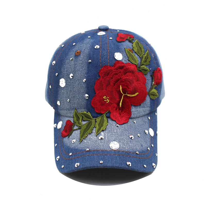 Brand Baseball Cap Women Girls Snapback Caps Hats For Women Diamond Fashion Casquette Bone Gorras Rose Flower Lady New Sun Hat