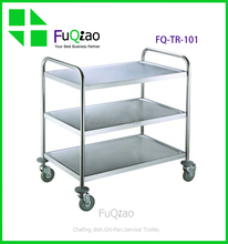 3 layers Round Tube Stainless Steel Room Food Service Trolley