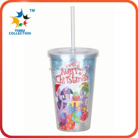 Wholesale portable 450ml hard straw cup with lid/clear plastic travel cup with straw/acrylic