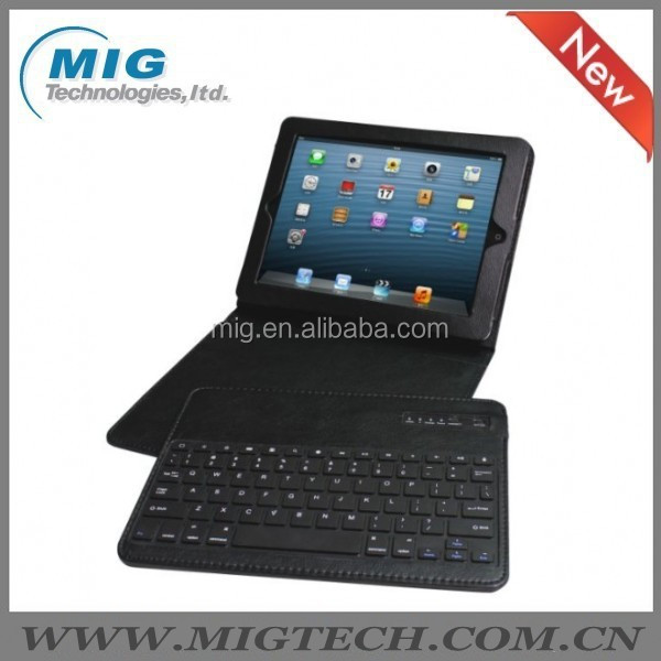 bluetooth keyboard For ipad 2 case Synthetic leather case with bluetooth keyboard, black