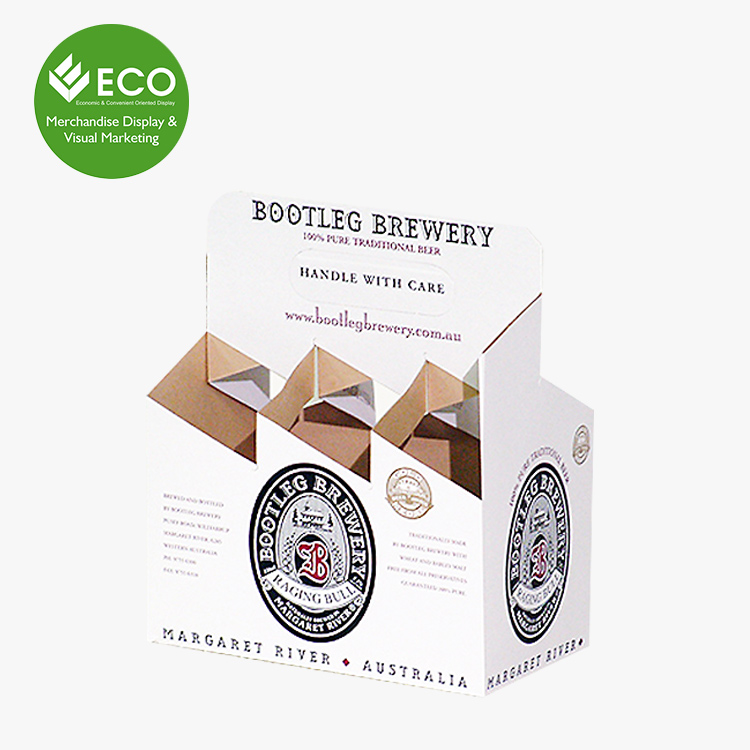 Recyclable Corrugated Cardboard Custom Printed 4 Pack And 6 Pack Cardboard Beer Bottle Carrier