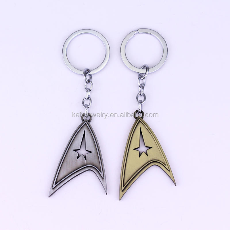 Star Trek LOGO Command Keychain NEW Toys Keyring Gold Pewter Toned metal Key chain