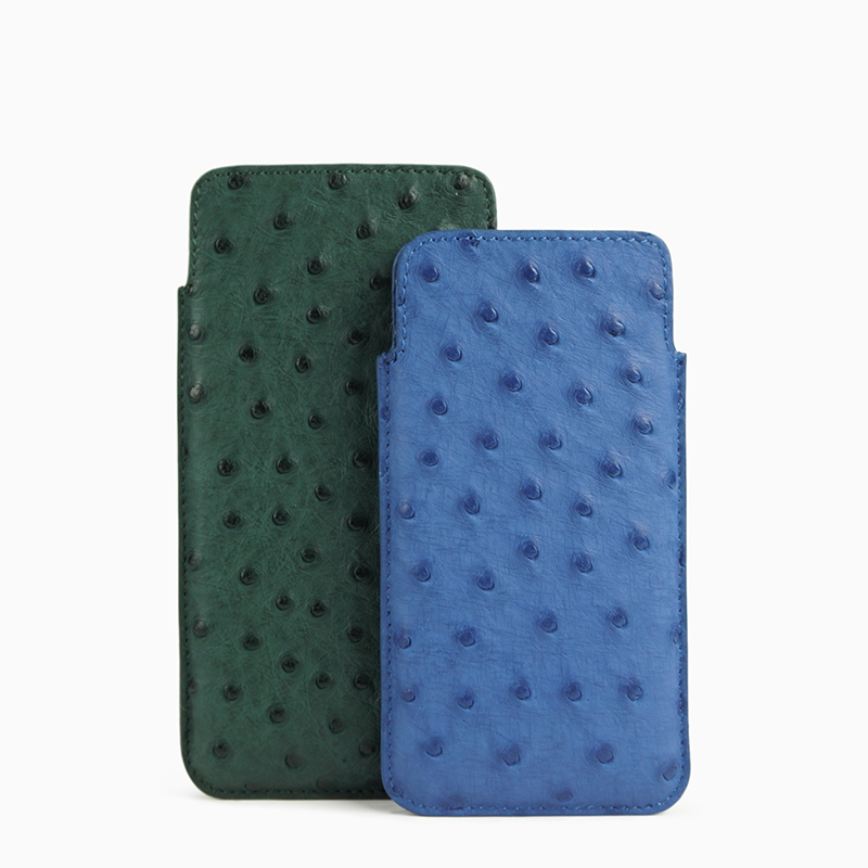 Luxury leather cellphone sleeve Real Ostrich leather Slim Fit phone case for Iphone 6